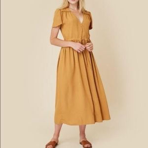 Christy Dawn mustard capped sleeve dress